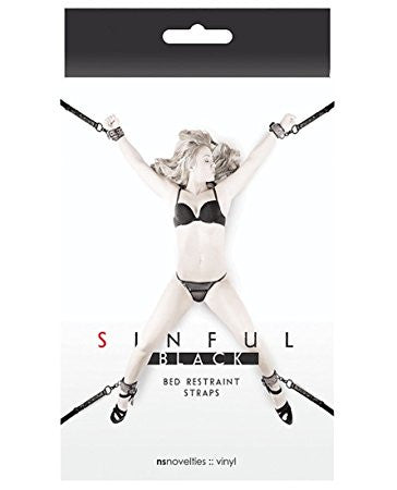 Sinful Black Vinyl Bed Restraint Straps Black - PlaythingsMiami