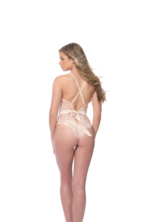Soft Full Lace Bodysuit with Satin Trim