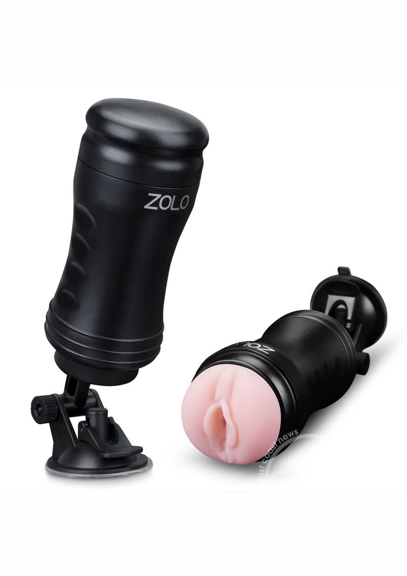 Zolo Solo Flesh Discreet Suction Mounted Textured Pussy Masturbator Flesh