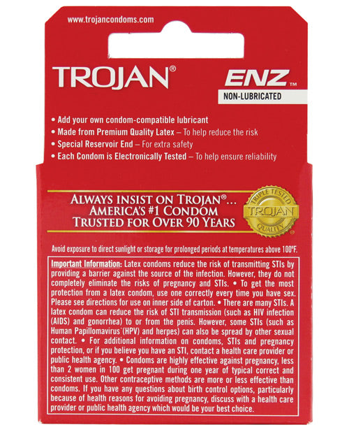 Trojan Enz Non-Lubricated - Box of 3 - PlaythingsMiami