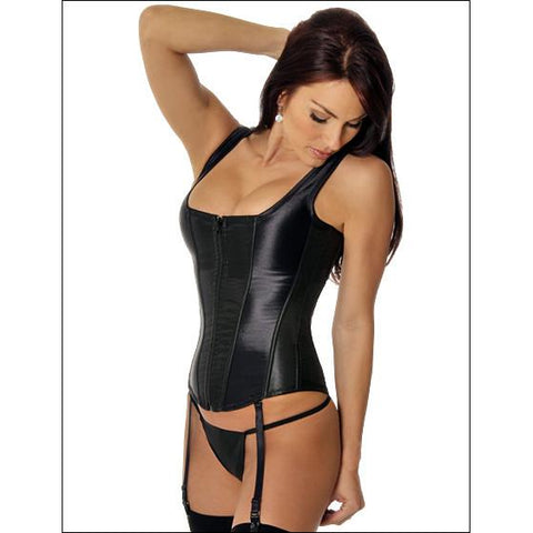 Corset with Zipper Front Black