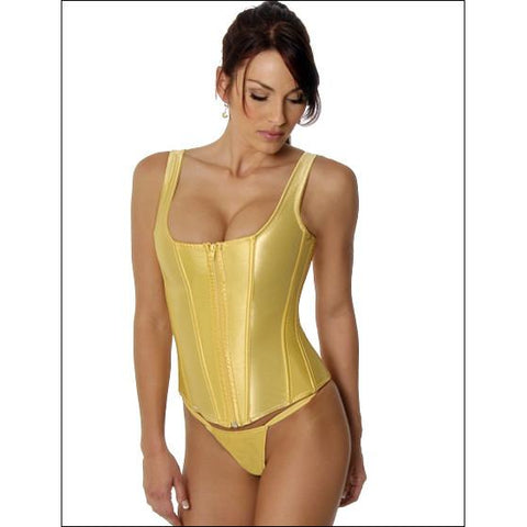 Corset with Zipper Front Gold