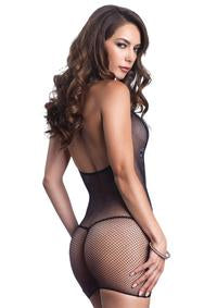 Fishnet Halter Mini Dress