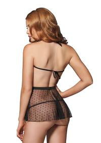 Halter Babydoll with Eyelash Lace trim and matching g-string. - PlaythingsMiami