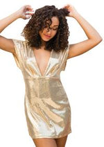Gold Sequin Mini Dress - PlaythingsMiami