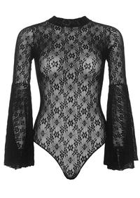 Lace Bodysuit Bell Sleeves - PlaythingsMiami