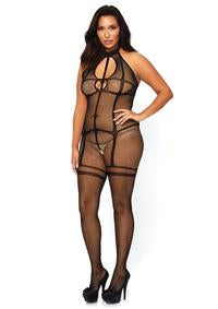 Fishnet halter bodystocking with opaque garter- Plus Size - PlaythingsMiami