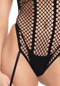 Backless Halter Teddy with Thong & Stockings - PlaythingsMiami