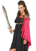 Warrior harness vest with one shoulder satin cape.