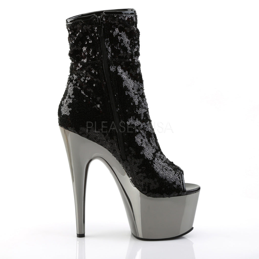"7"" Stiletto Heel, 2 3/4""  Chrome Plated Platform Ankle Boot- Black - PlaythingsMiami"