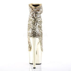 "7"" Stiletto Heel Chrome Plated Platform Ankle Boot- Gold Sequins"