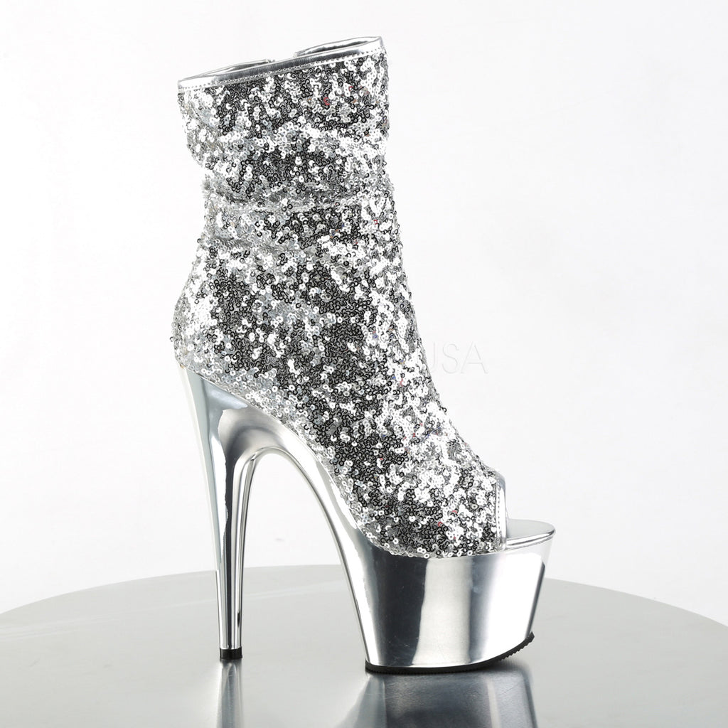 "7"" Stiletto Heel Chrome Plated Platform Ankle Boot- Silver Sequins - PlaythingsMiami"
