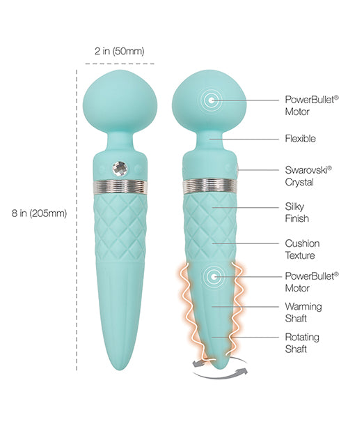 Pillow Talk Sultry Rotating Wand - Teal