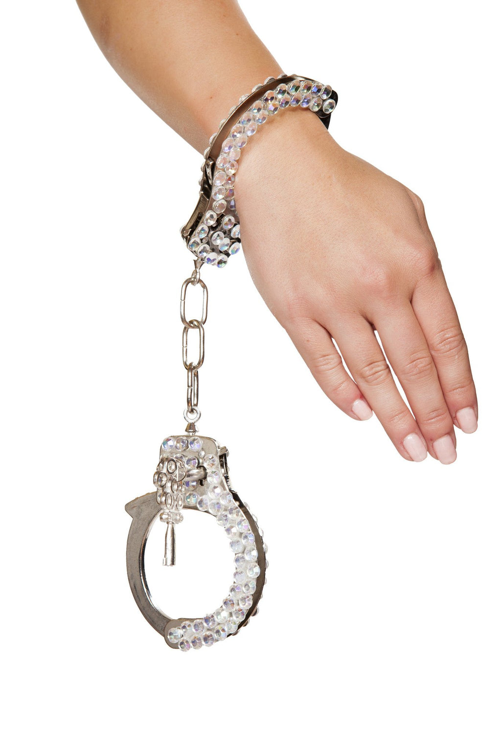 Silver Handcuffs with Rhinestones - PlaythingsMiami