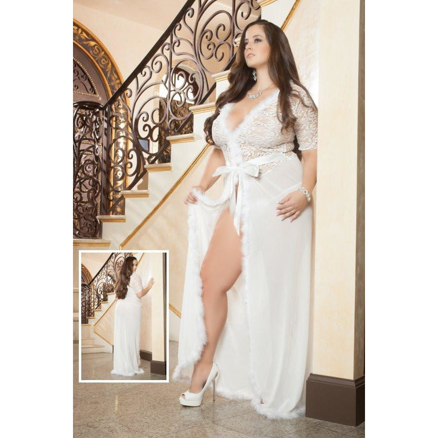 Glam Night Robe Ivory Queen - PlaythingsMiami