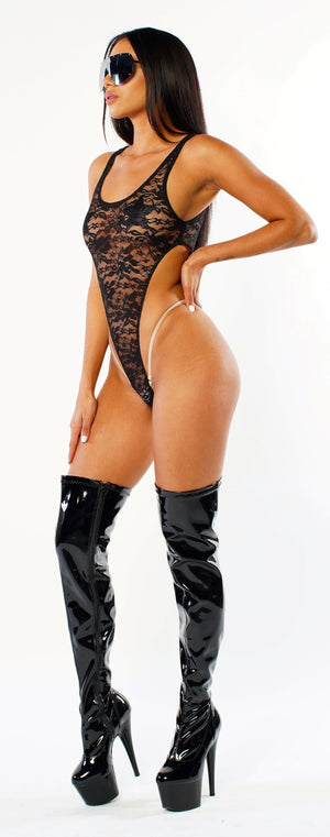 Exclusive Lace/Sheer Thong Bodysuit PTS01