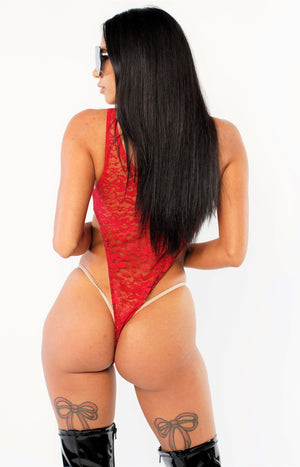 Exclusive Red Lace Bodysuit PTS01