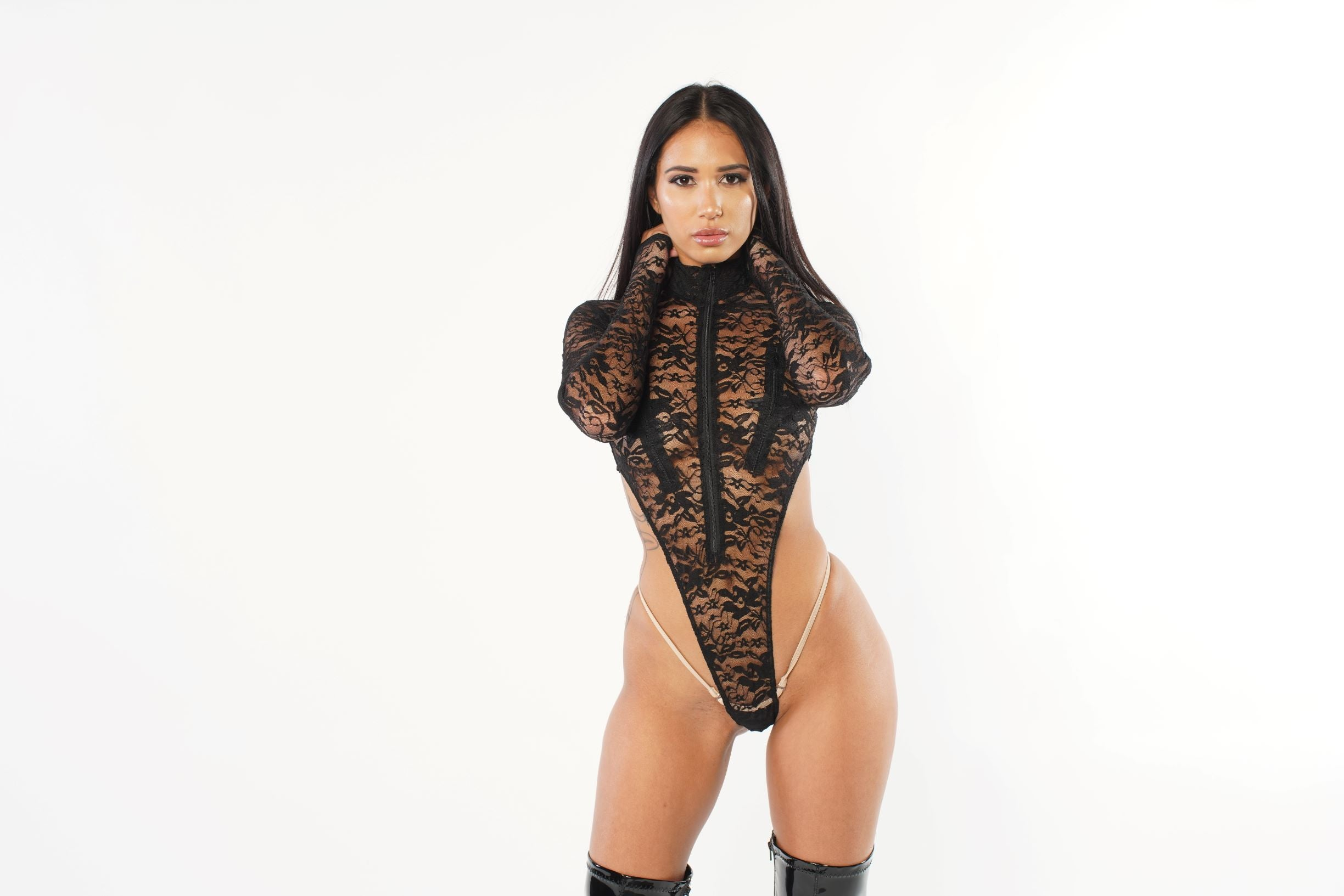 Exclusive Sheer Lace Bodysuit Zipper Front PTS02