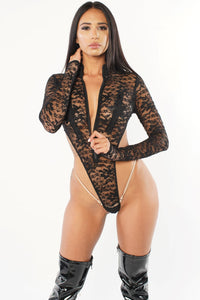 Exclusive Sheer Lace Bodysuit Zipper Front PTS02 - Playthings®