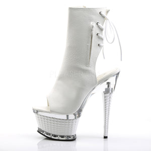 "Ankle Boot with Textured Heel & Platform-White 6 1/2"" - PlaythingsMiami"