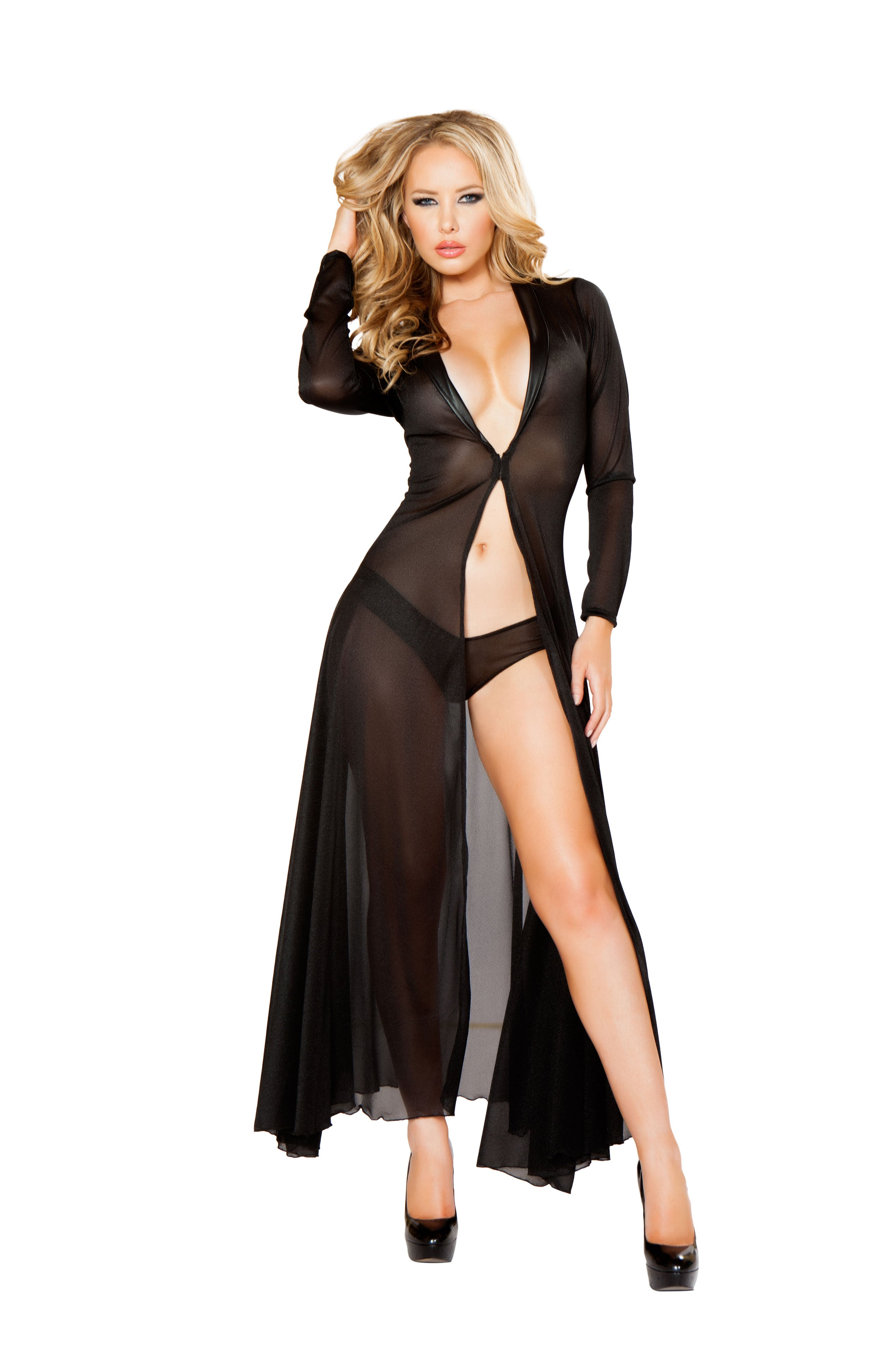 2pc Long Sheer Robe with Hooks & Mesh Shorts