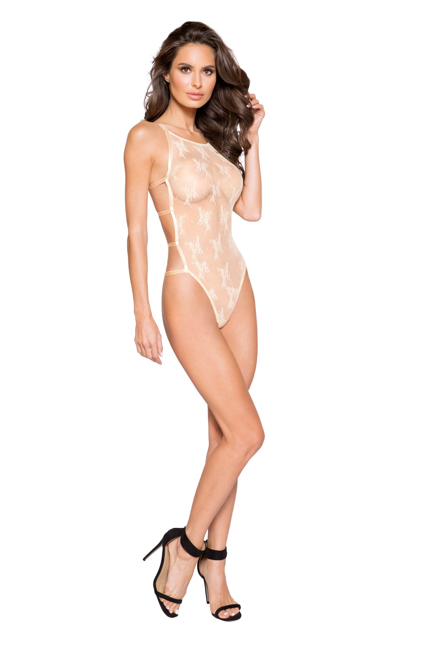 LI272 & LI273 - Classic Full Front Cover Lace Teddy with Back Strap Details