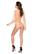 LI298 - Elegant Sheer Mesh & Lace Teddy with Flair Sleeve and Optional Satin Tie