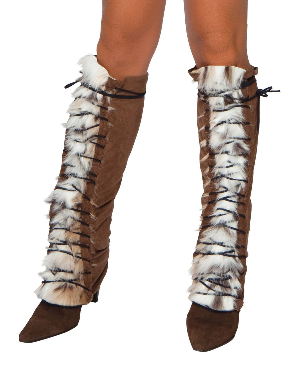 Fur/Suede Lace up Leg Warmer