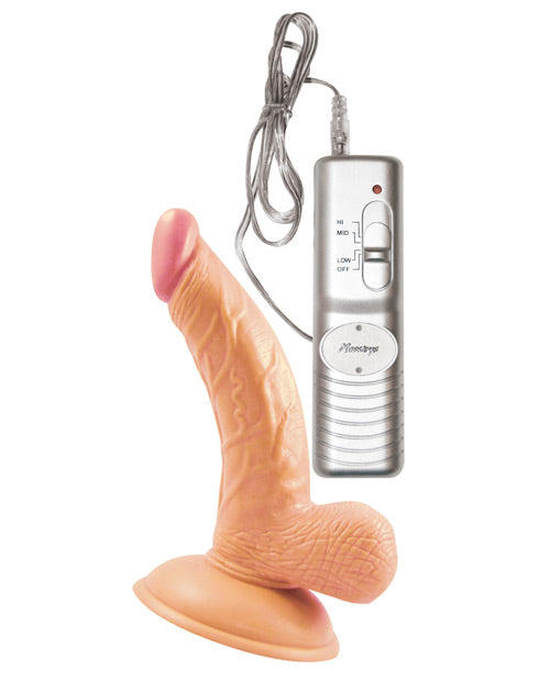 "Vibrating Dildo 4"" with Suction Cup with Balls"