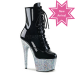 "Pleaser 7"" Heel Ankle Boot with Glitter Filled Platform"