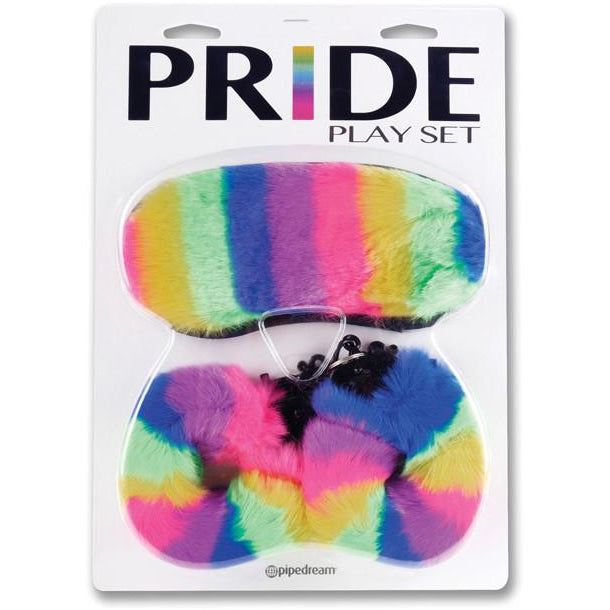 Pride Play Set Rainbow Blindfold and Handcuffs - PlaythingsMiami