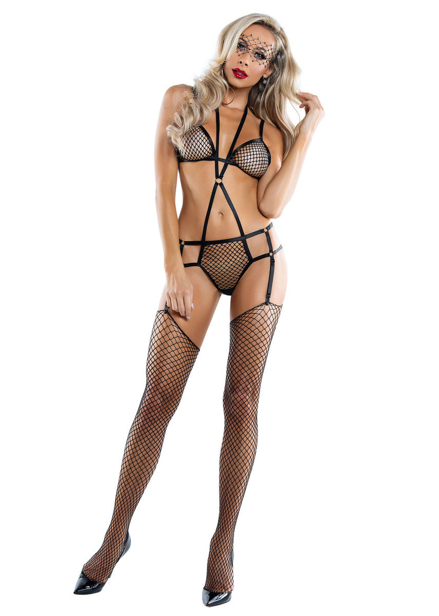 Fishnet harness playsuit with garter clips.