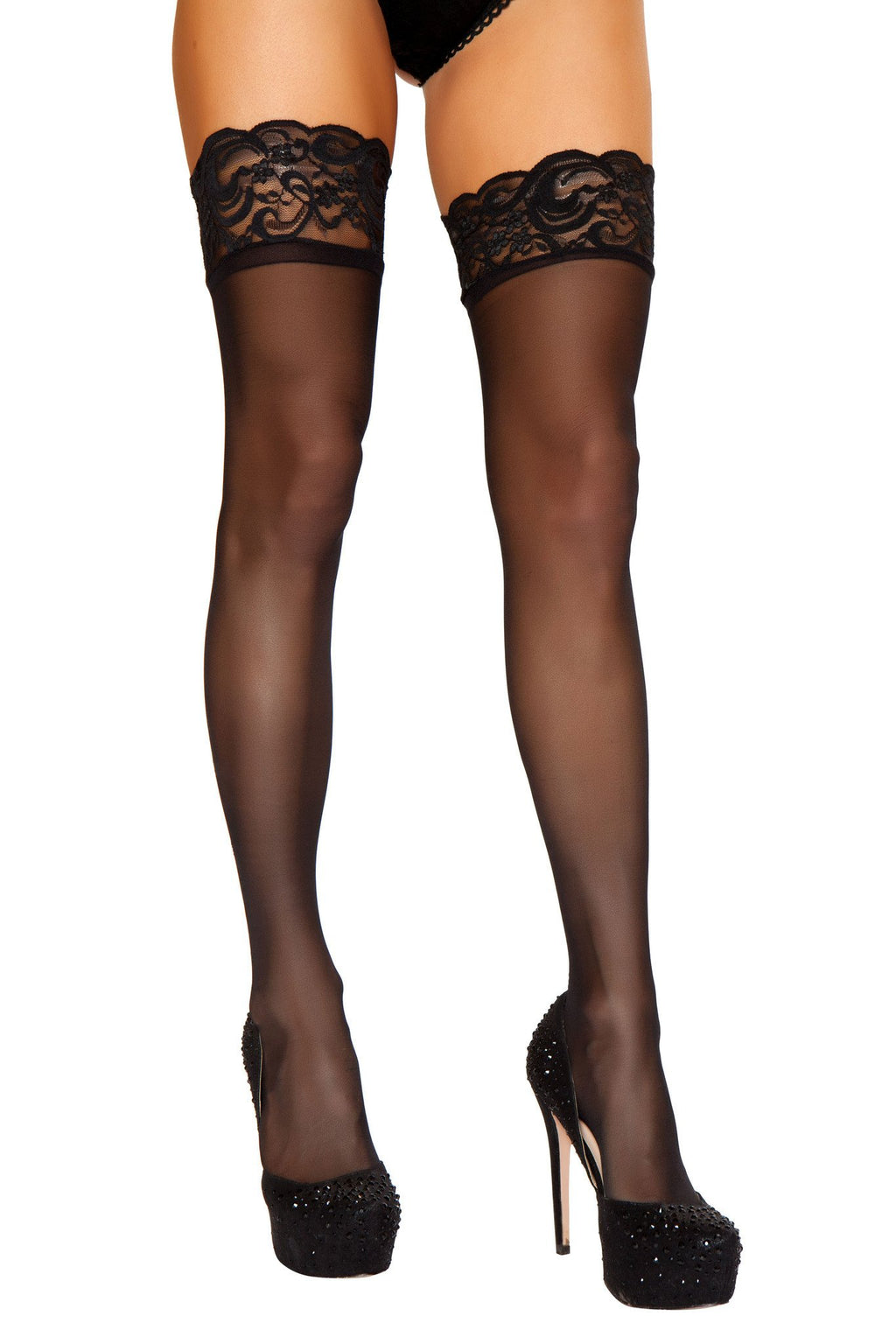 Black Sheer Stockings with Lace Trim