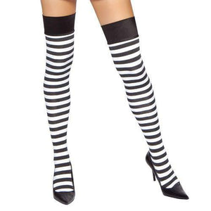 Black/White Stripped Stockings - PlaythingsMiami