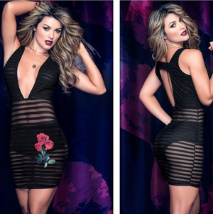 Rose Sheer Dress 4460 - PlaythingsMiami