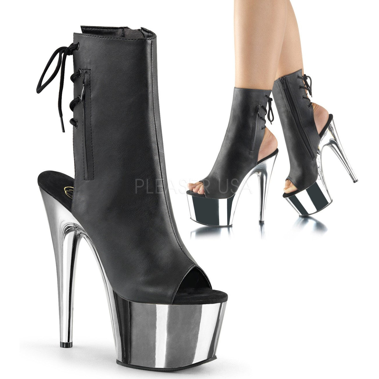 "7"" Open-Toe Boots with Chrome Heel"