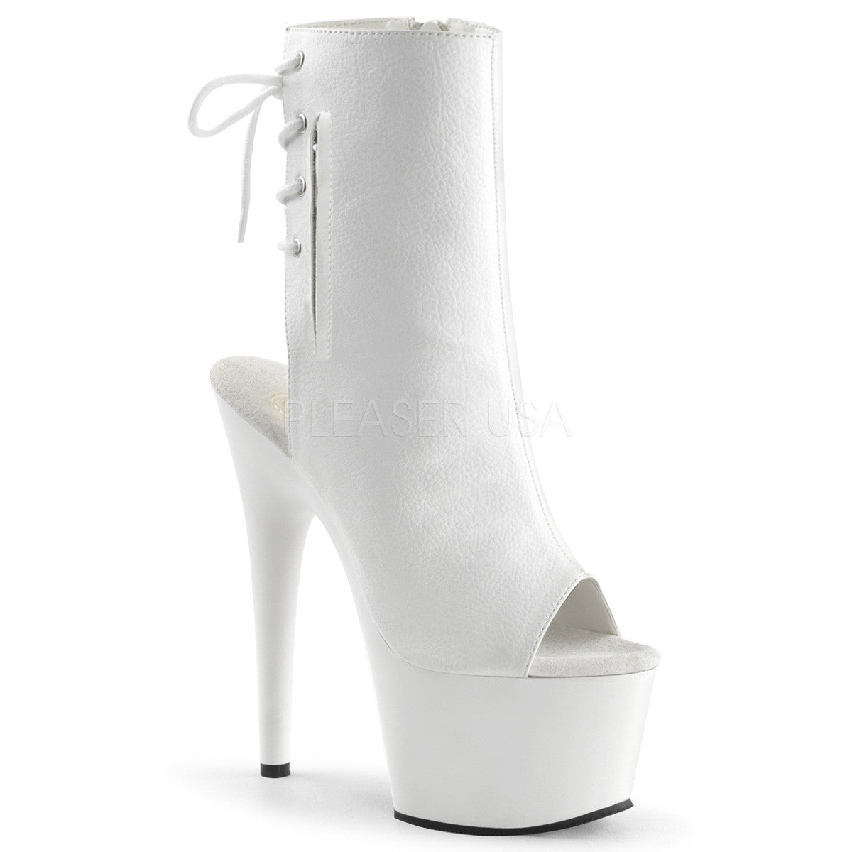 "7"" Open Toe Boots White - PlaythingsMiami"