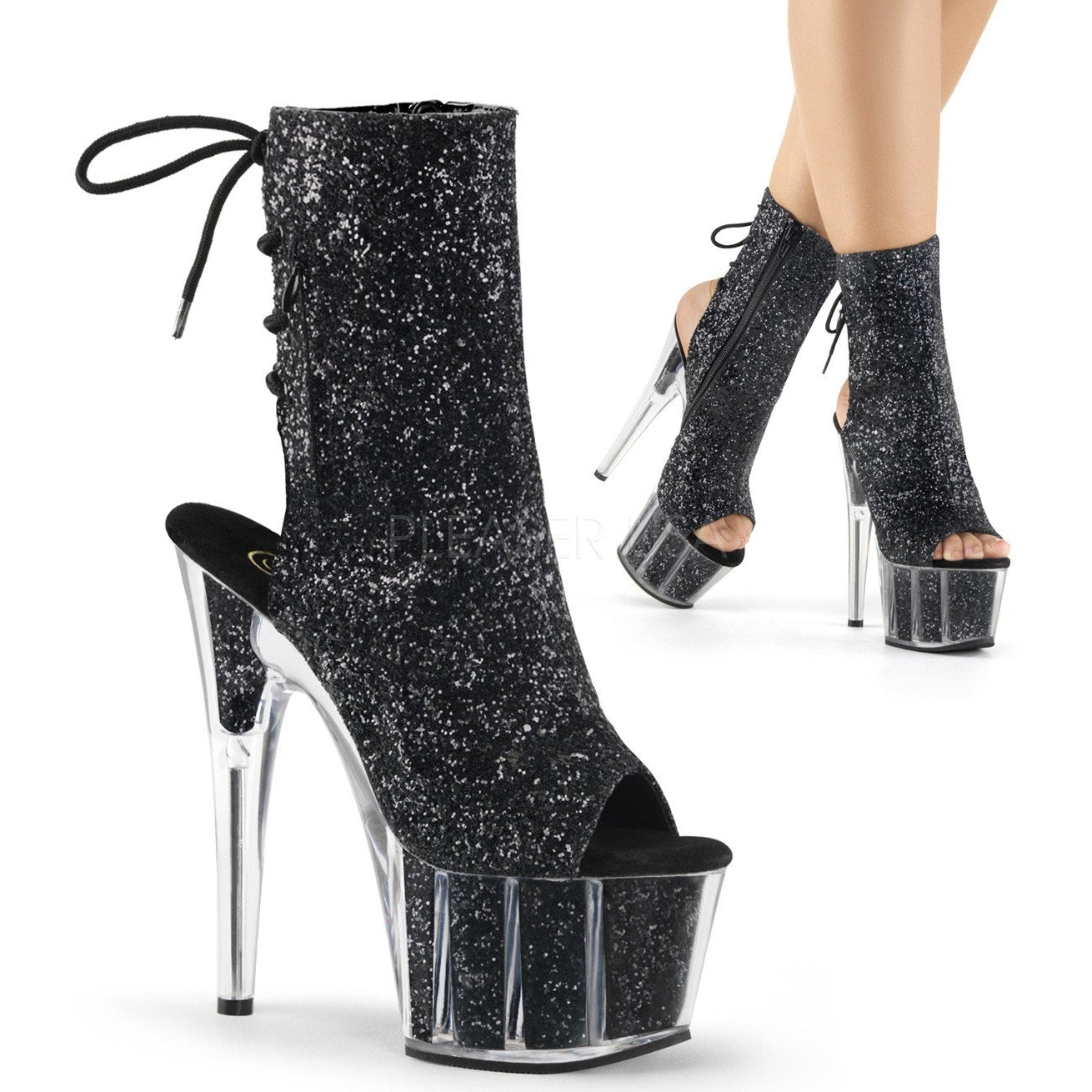 Pleaser® Black Glitter Boots│Playthings Miami®
