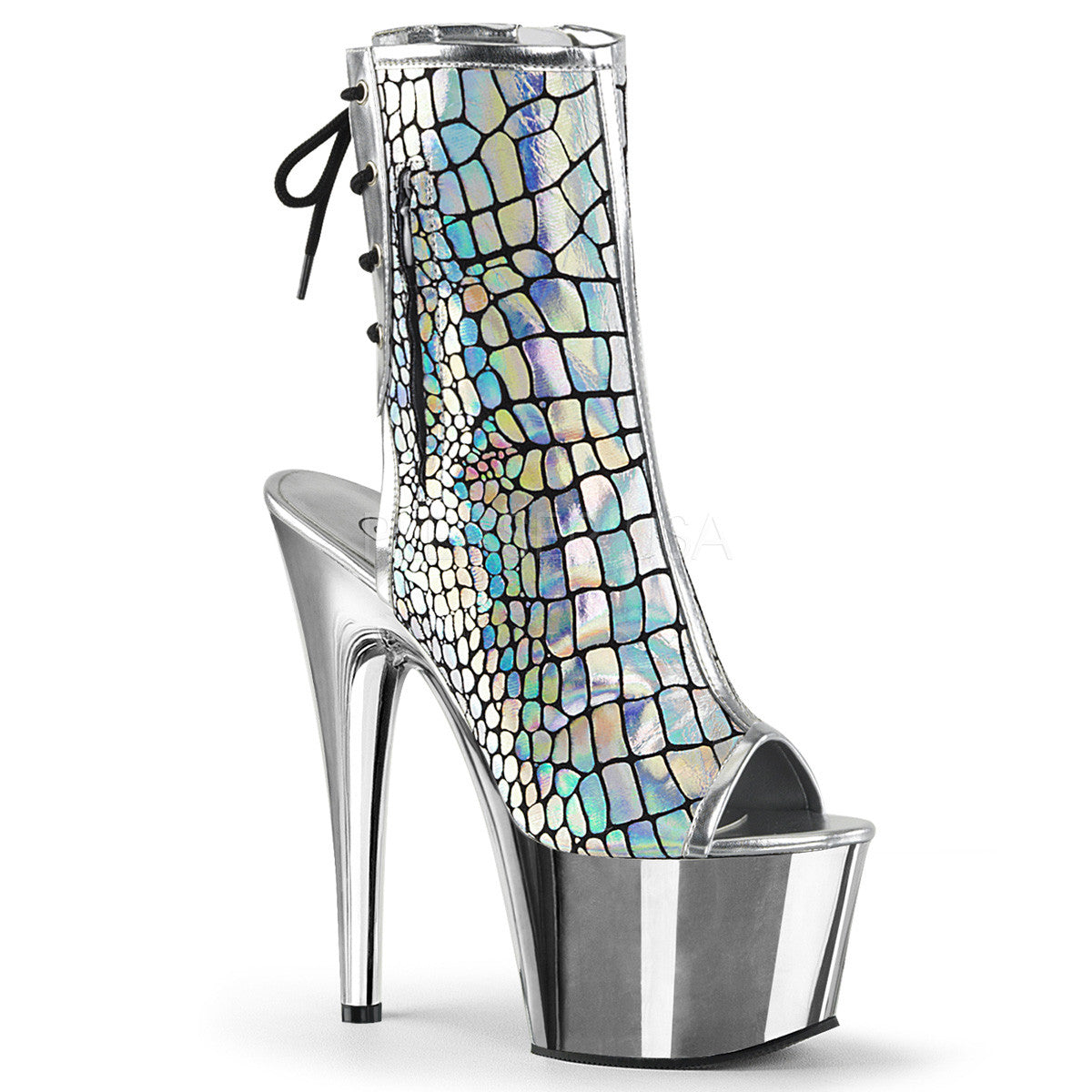 "7"" Heel Hologram Silver Boot - PlaythingsMiami"