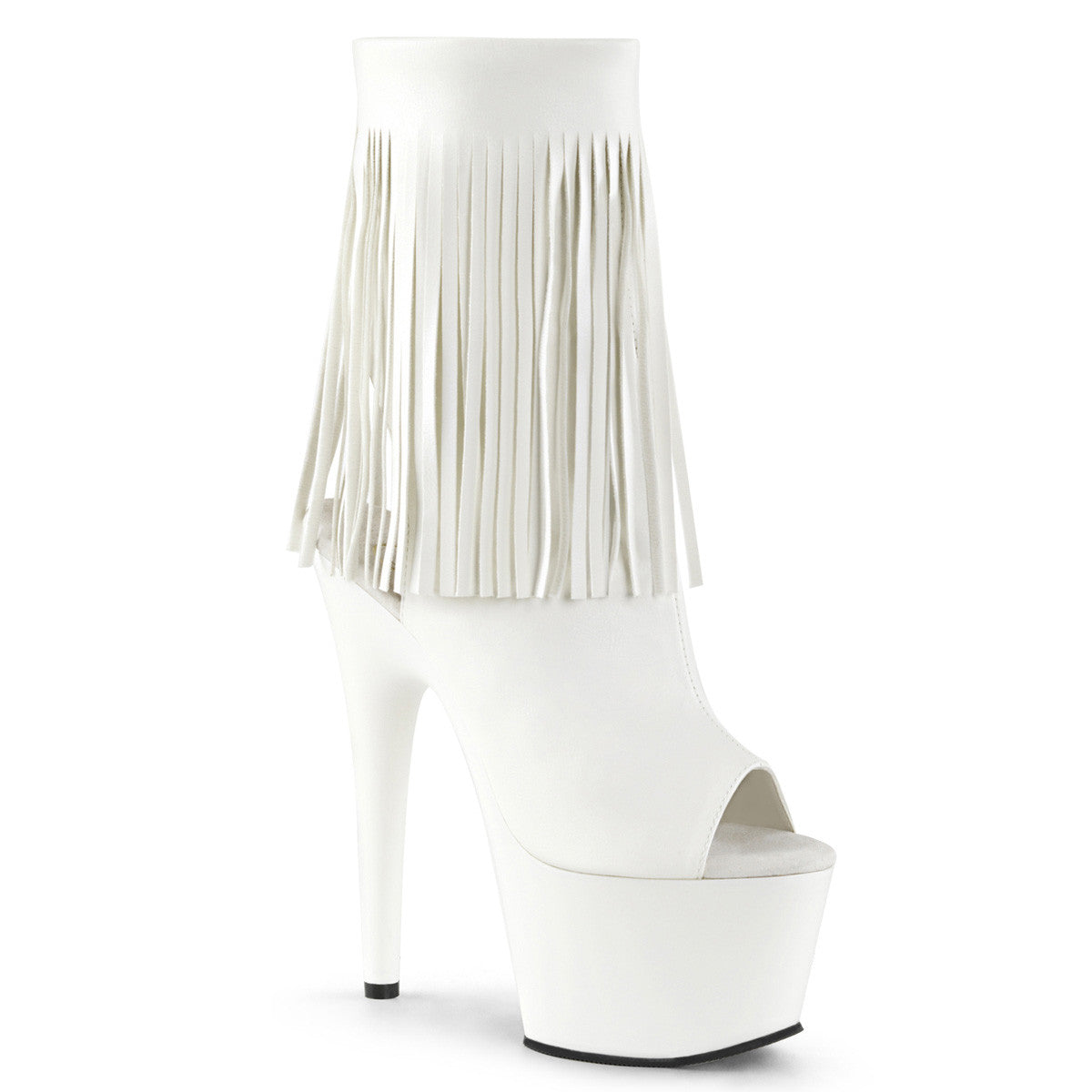 Pleaser® White Fring boots│Playthings MIami®