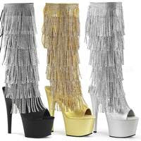 "7"" Knee High Rhinestone Fringe Boots"