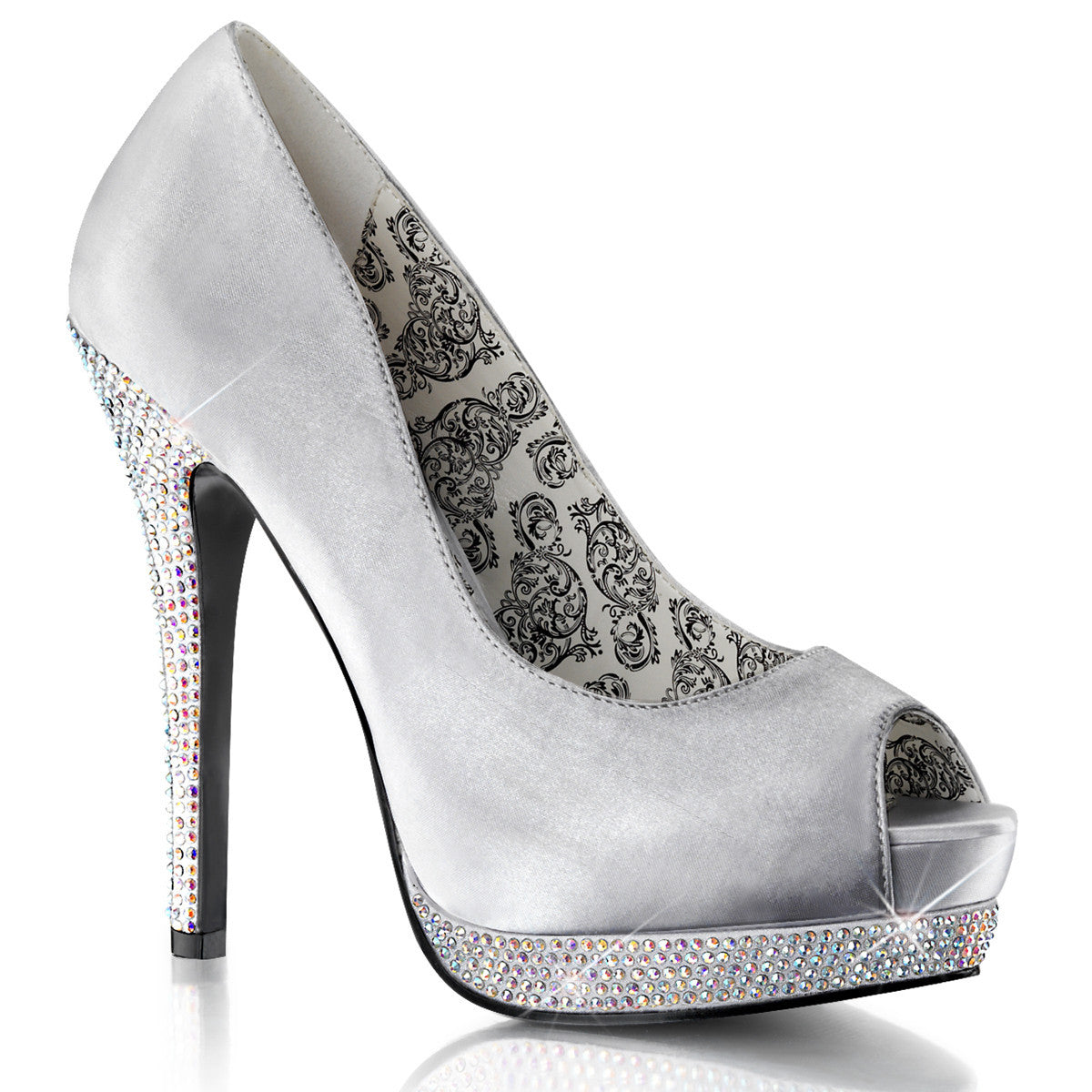 Peep Toe Pump Featuring Rhinestones Covering Lower Platform - PlaythingsMiami