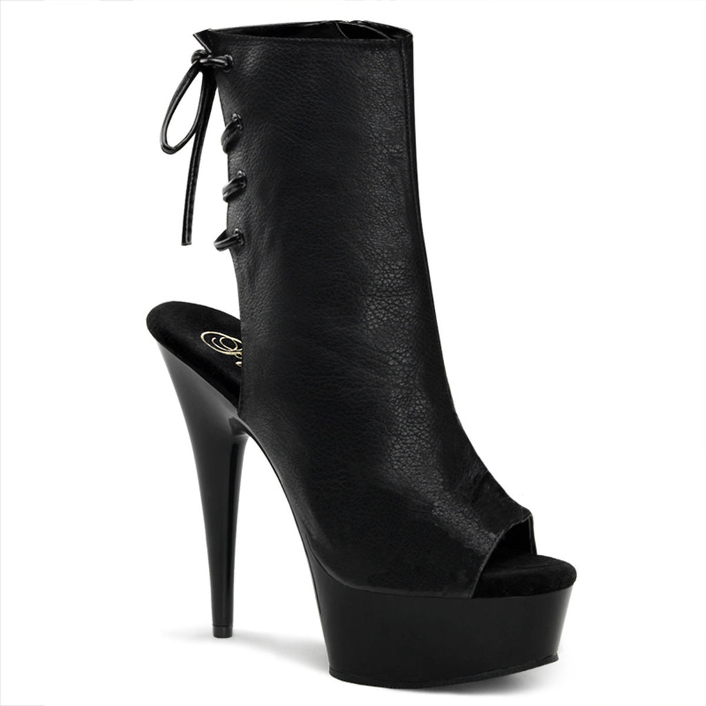 "6"" Heel Lace-up Mid-Calf Booties Faux Leather - PlaythingsMiami"