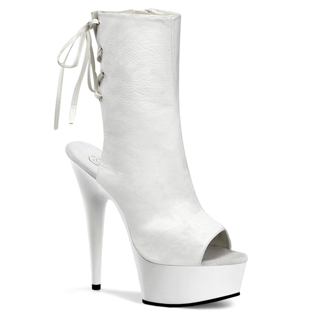 "6"" Heel Lace-up Mid-Calf Booties - PlaythingsMiami"