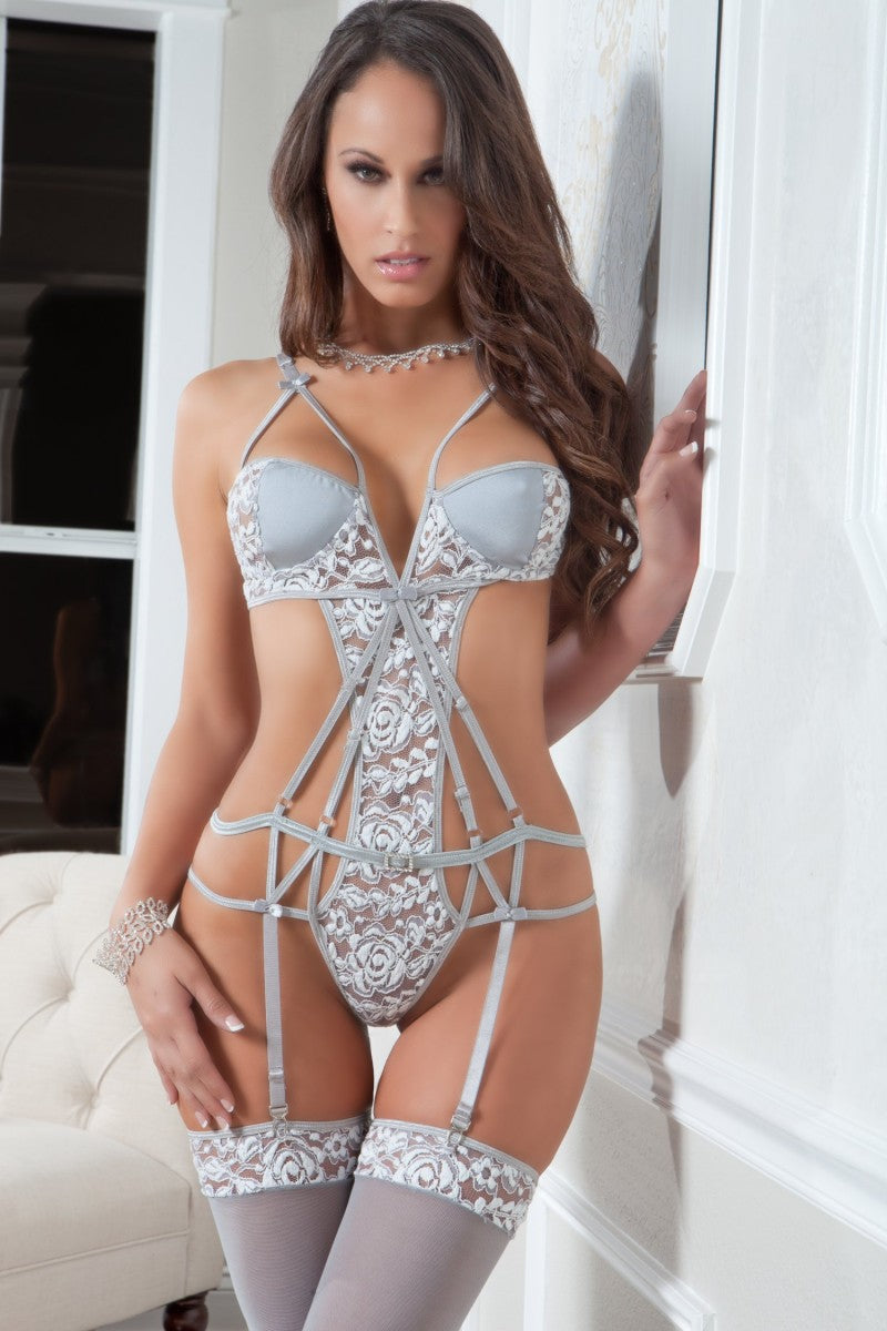 Strappy Chantilly Teddy & Stockings - PlaythingsMiami