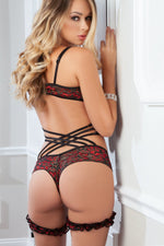 Lace Teddy and Garter Set - PlaythingsMiami