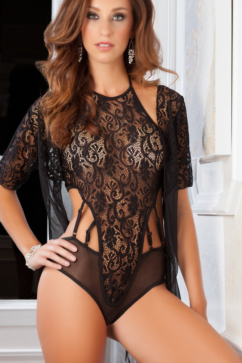 Black 2pc High Neck Lacy Teddy & Robe Lingerie