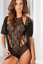 2pc High Neck Lacy Teddy & Robe - PlaythingsMiami