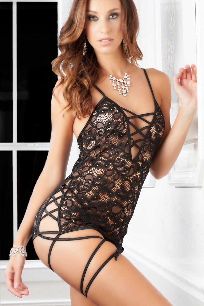 Lace Mini Strappy Dress - PlaythingsMiami