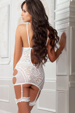 3pc Garter Lacy Slip With Side Cutouts│Pearl White - PlaythingsMiami